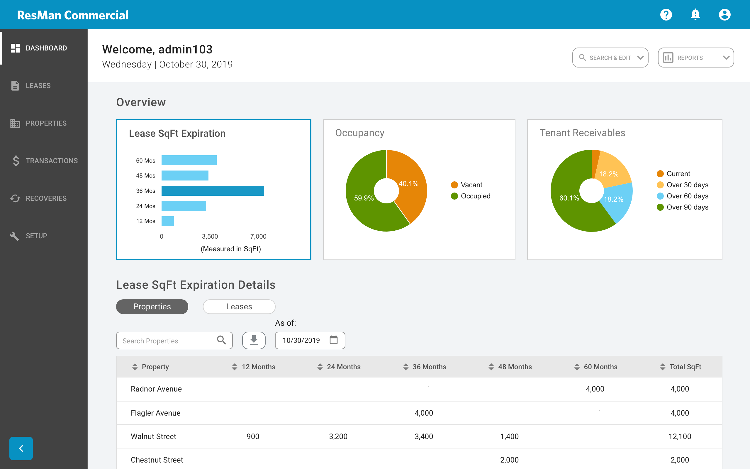 Commercial property management software dashboard